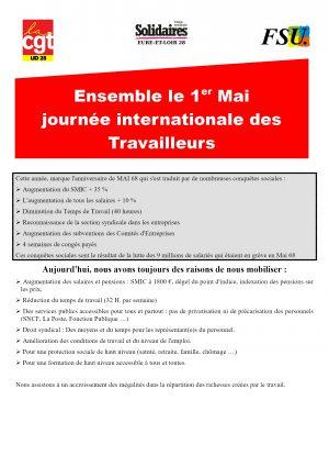 Tract 1er Mai e&L CGT FSU Solidaires R