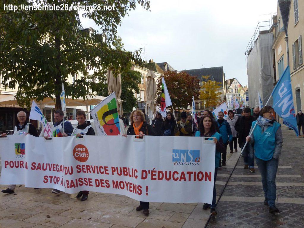 Chartres 12-11-2018 Manifestation Éducation-nationale FSU SGEN-CFDT UNSA-Éducation 01