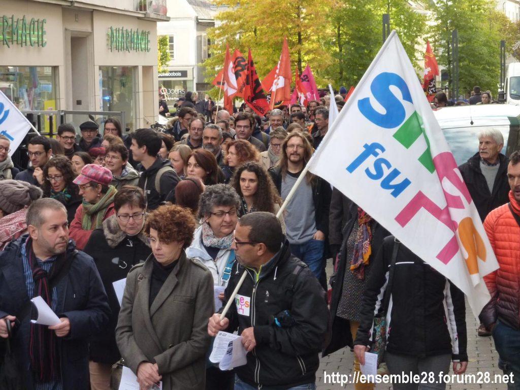 Chartres 12-11-2018 Manifestation Éducation-nationale FSU SGEN-CFDT UNSA-Éducation 02