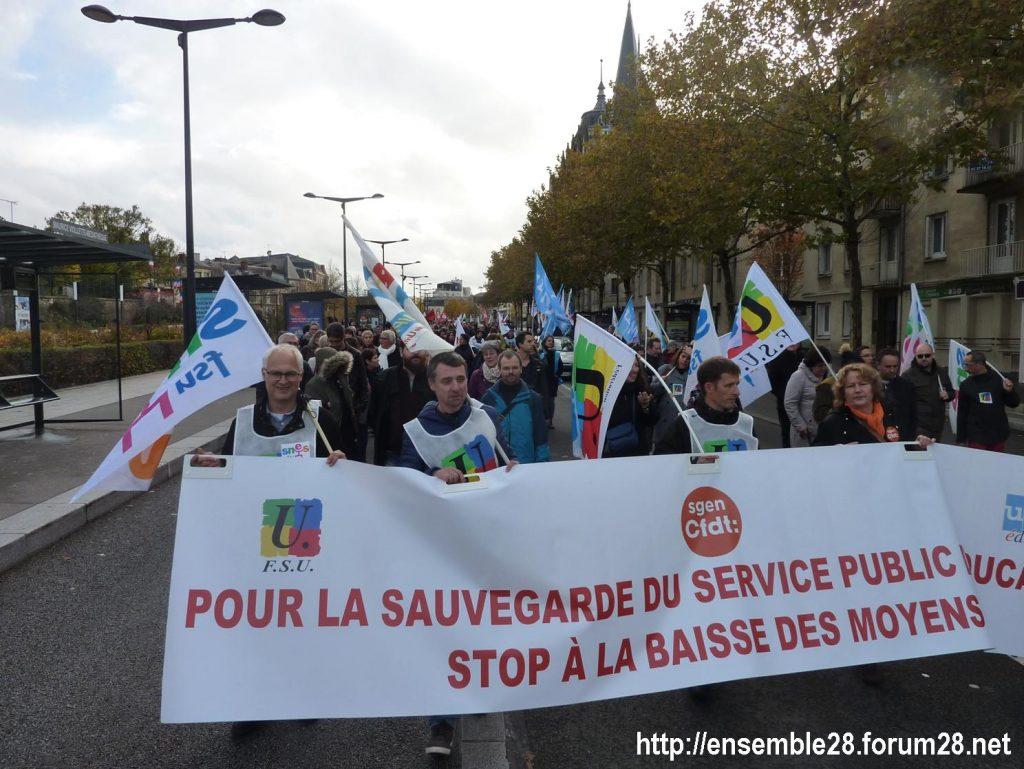 Chartres 12-11-2018 Manifestation Éducation-nationale FSU SGEN-CFDT UNSA-Éducation 10