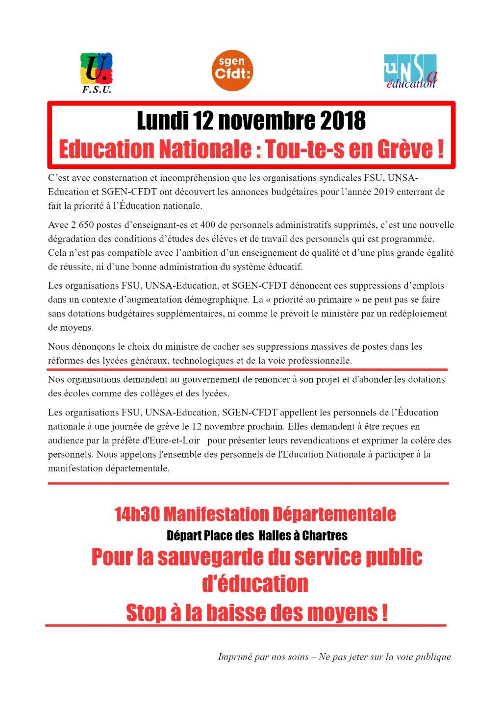 Appel 28 pour grève manifestation Éducation du 12-11-2018