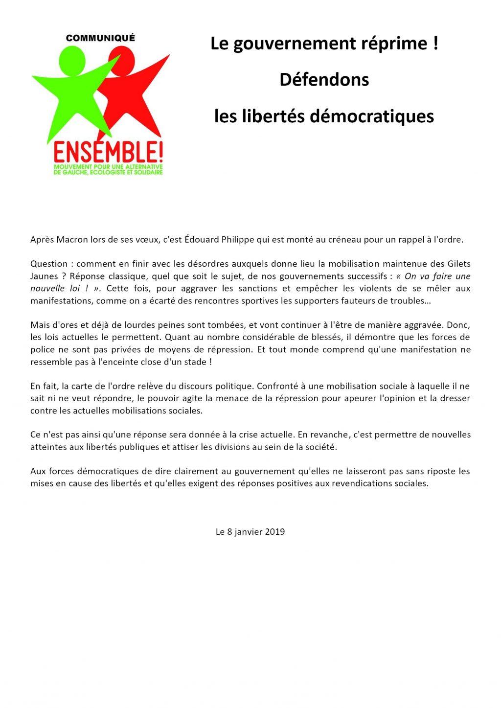 Ensemble! Com Nat 2019-01-08 Défendons les libertés démocratiques