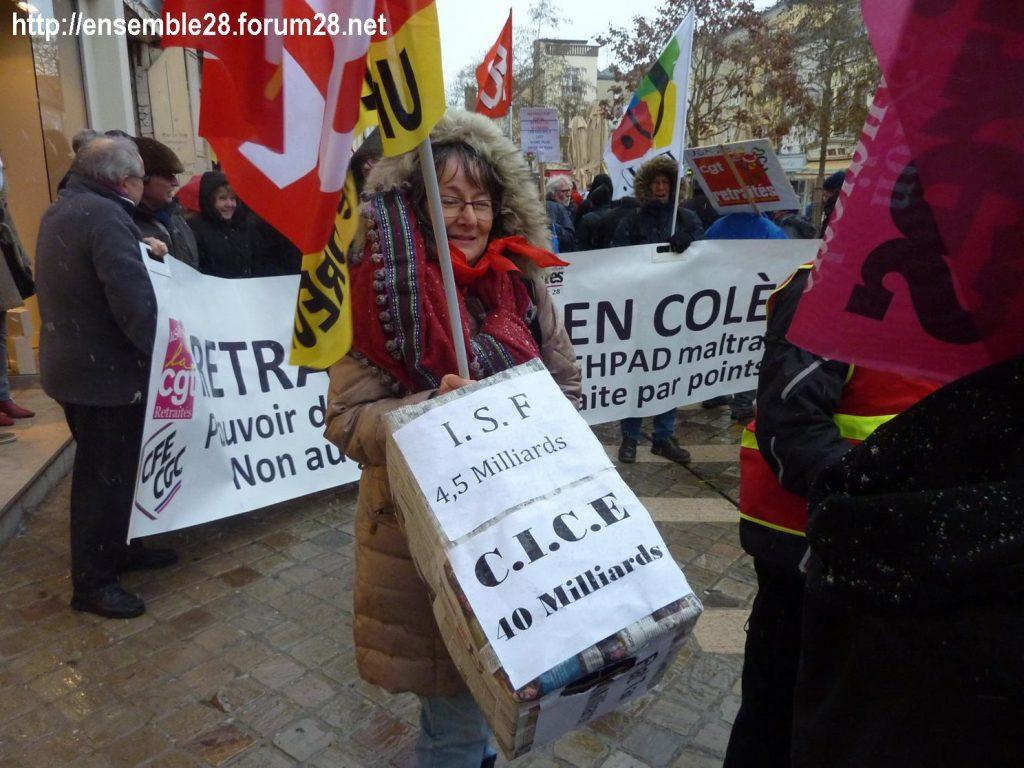 Chartres 31-01-2019 Rassemblement Intersyndicale Rétraités 04