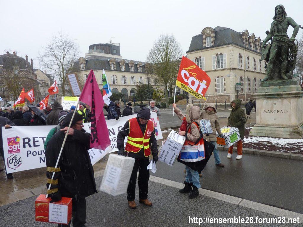 Chartres 31-01-2019 Rassemblement Intersyndicale Rétraités 05