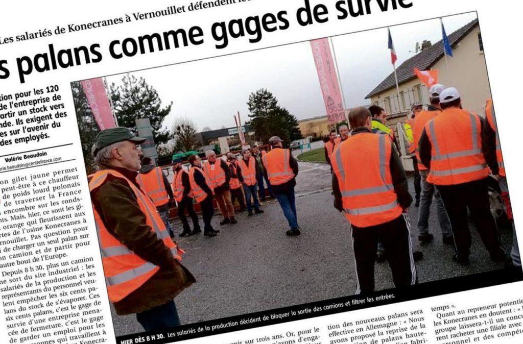 Extrait Écho Républicain 2018-12-05 p18 Vernouillet Konecranes Blocage Stock