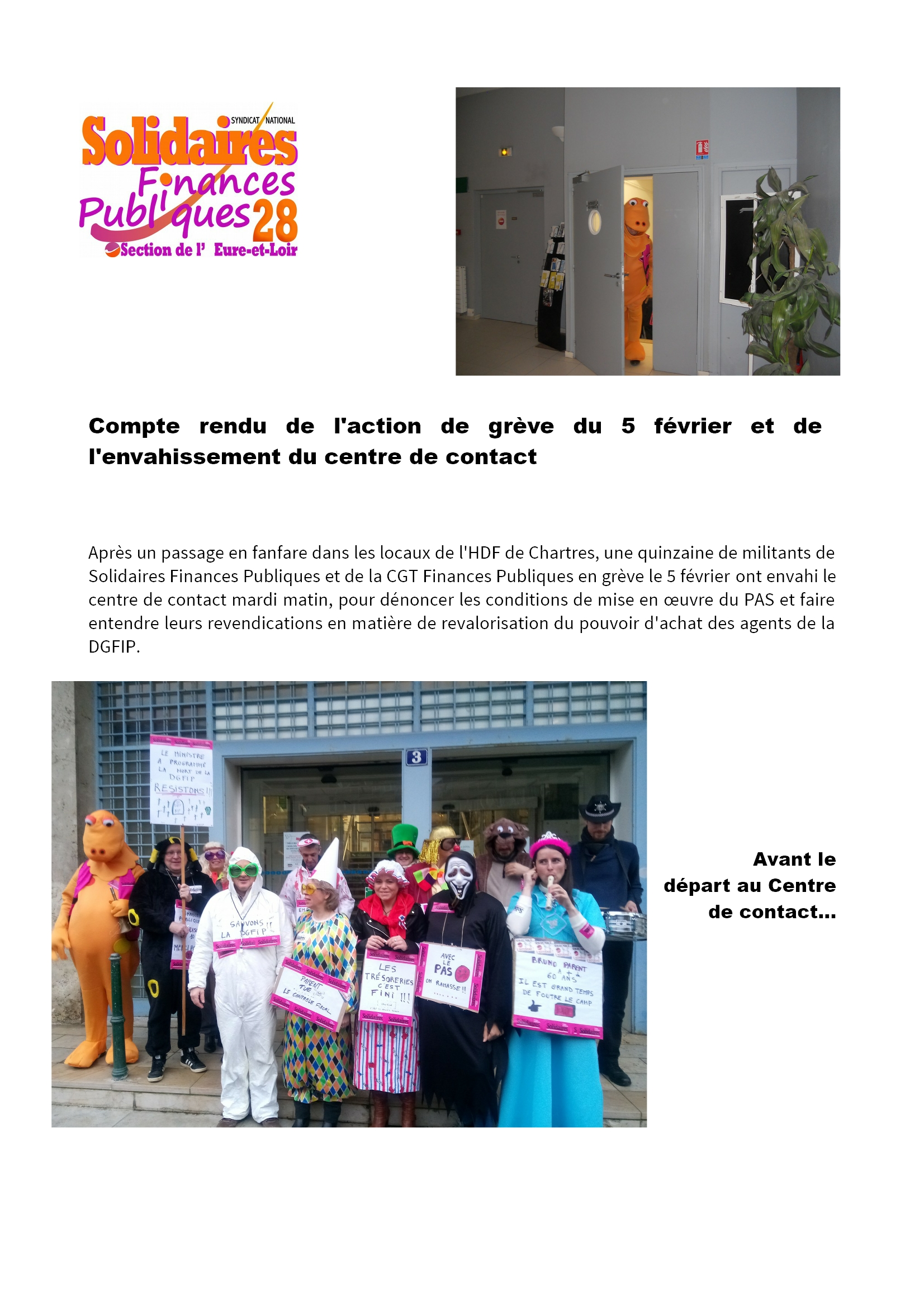 Grève et actions du 5 février 2019 aux Finances à Chartres [CR Solidaires] 1x3