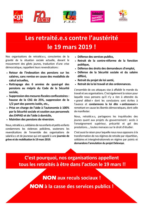 2019 03 19 Appel national Retraités CGT FO FSU Solidaires