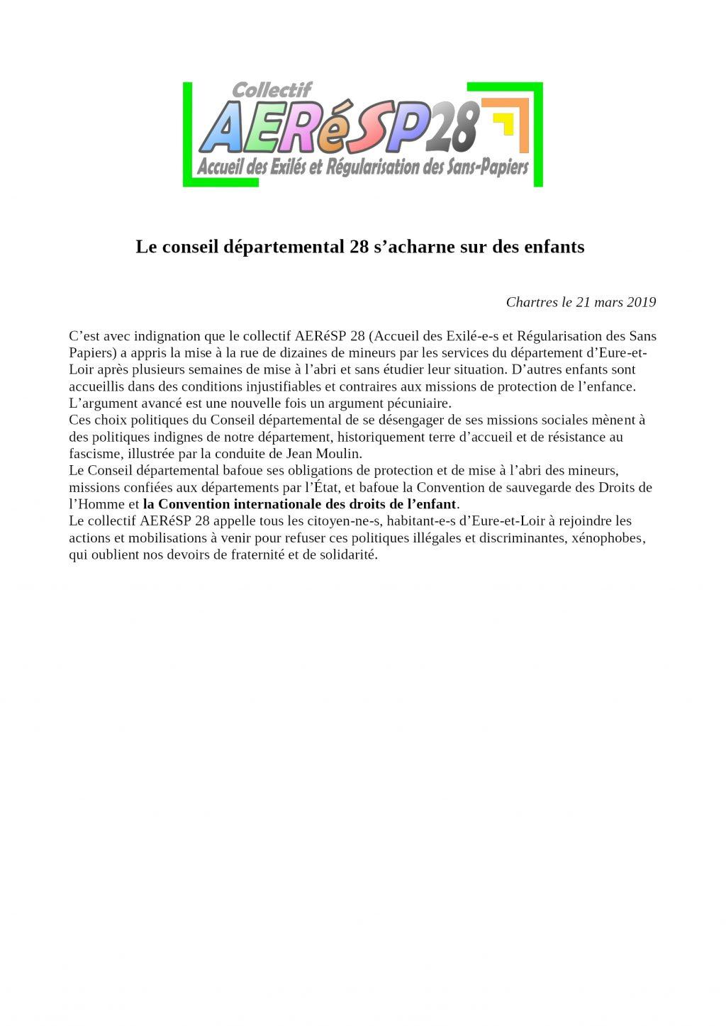 2019 03 21 Communiqué AERéSP28- Conseil dép- mises à la rue- droits enfants bafoués-xénophobie