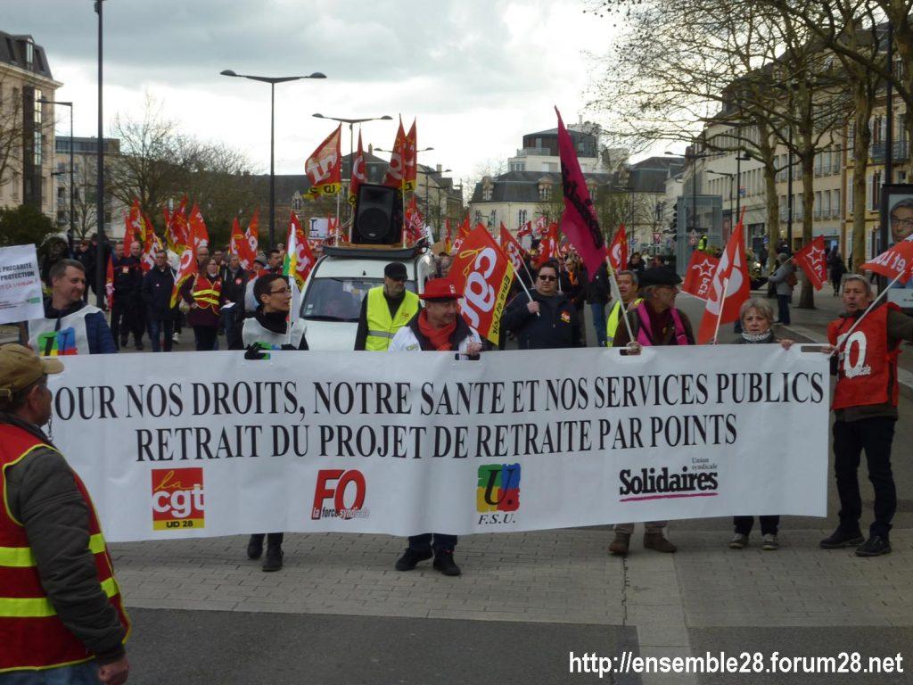 Chartres 19-03-2019 Manifestation Public-Privé CGT FO FSU Solidaires 01
