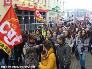 Chartres 19-03-2019 Manifestation Public-Privé CGT FO FSU Solidaires 06
