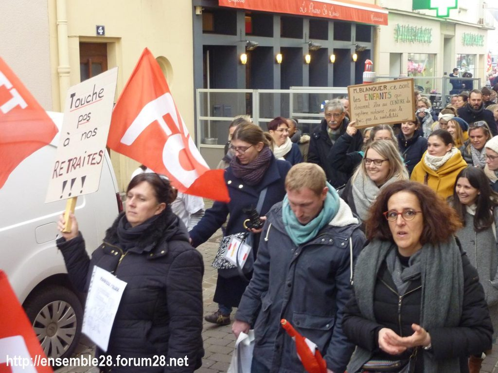 Chartres 19-03-2019 Manifestation Public-Privé CGT FO FSU Solidaires 08