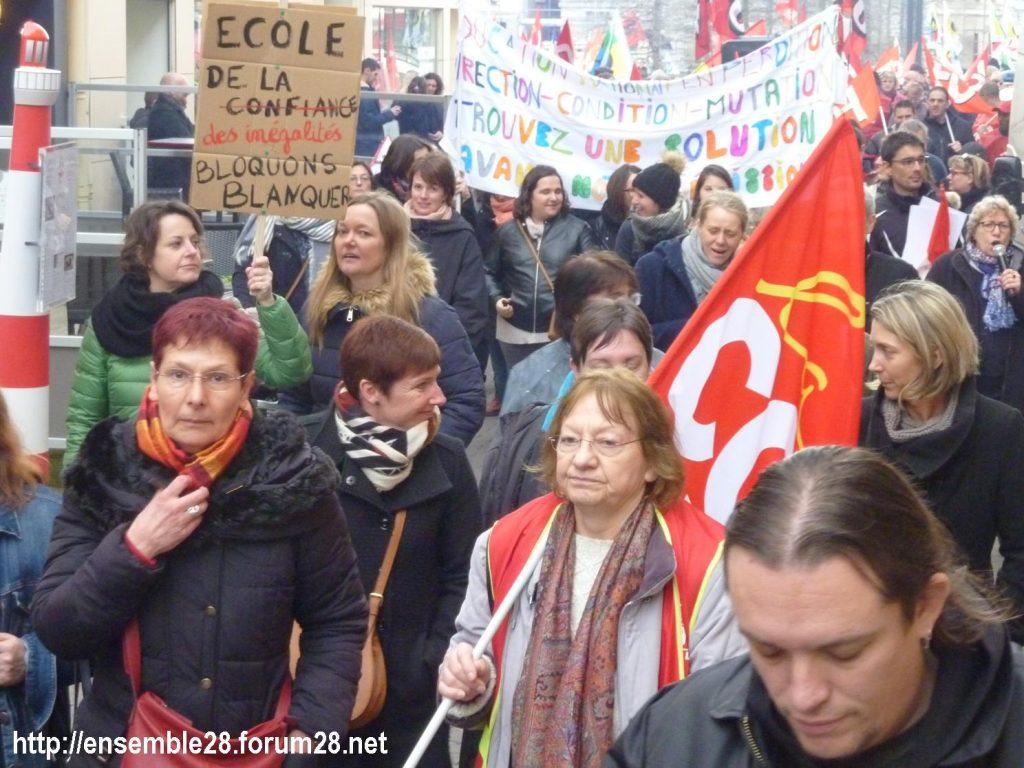 Chartres 19-03-2019 Manifestation Public-Privé CGT FO FSU Solidaires 09