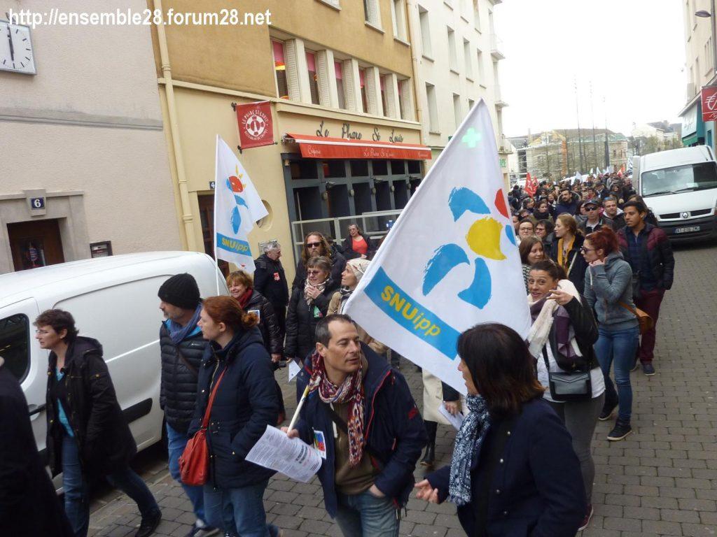 Chartres 19-03-2019 Manifestation Public-Privé CGT FO FSU Solidaires 14
