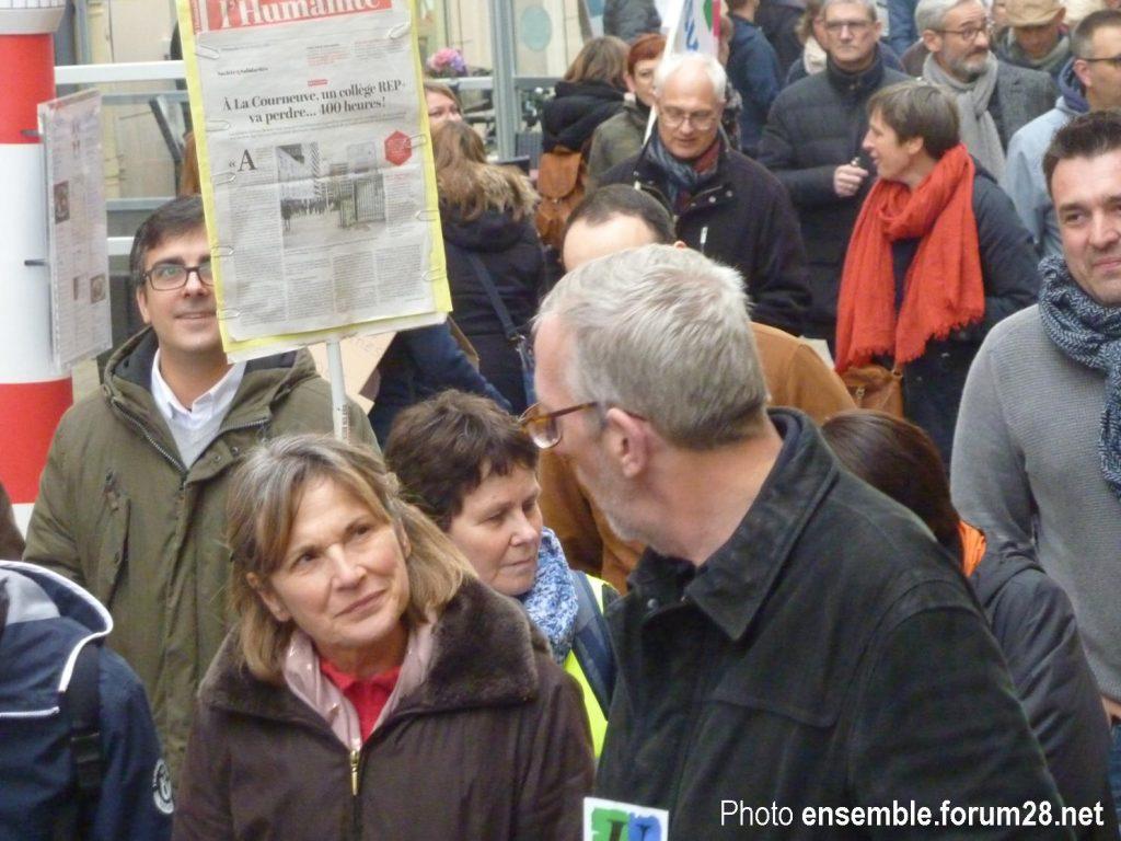 Chartres 19-03-2019 Manifestation Public-Privé CGT FO FSU Solidaires 16