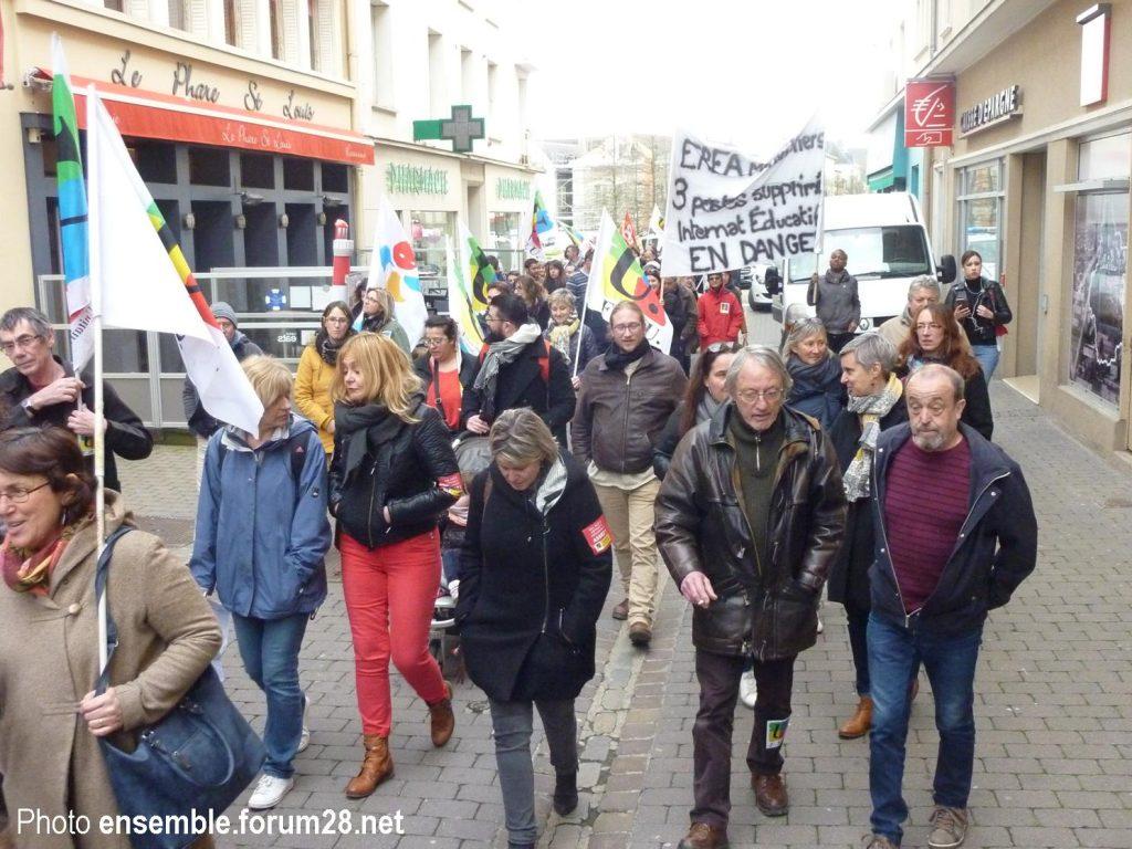 Chartres 19-03-2019 Manifestation Public-Privé CGT FO FSU Solidaires 17