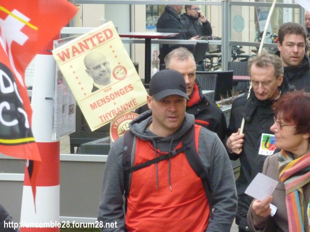 Chartres 19-03-2019 Manifestation Public-Privé CGT FO FSU Solidaires 18
