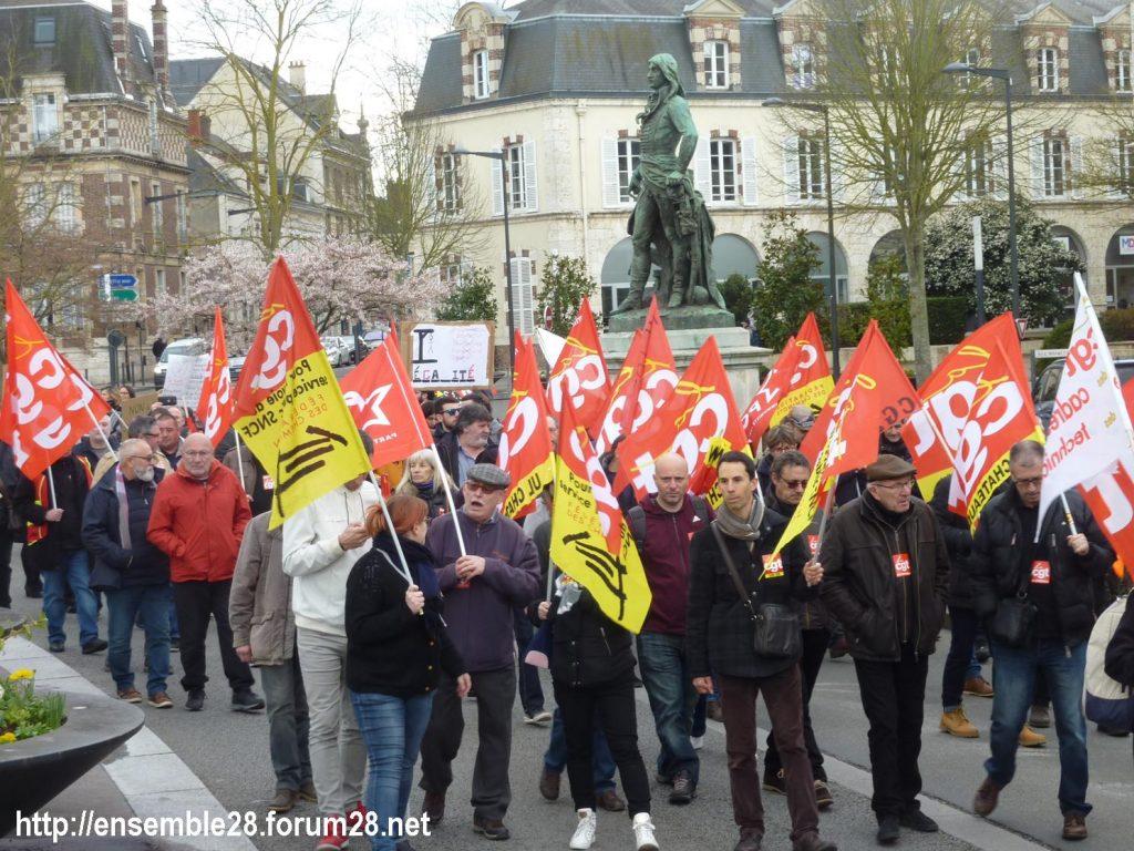 Chartres 19-03-2019 Manifestation Public-Privé CGT FO FSU Solidaires 19