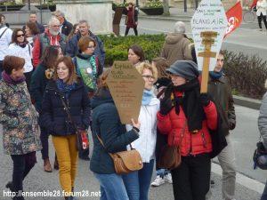 Chartres 19-03-2019 Manifestation Public-Privé CGT FO FSU Solidaires 21