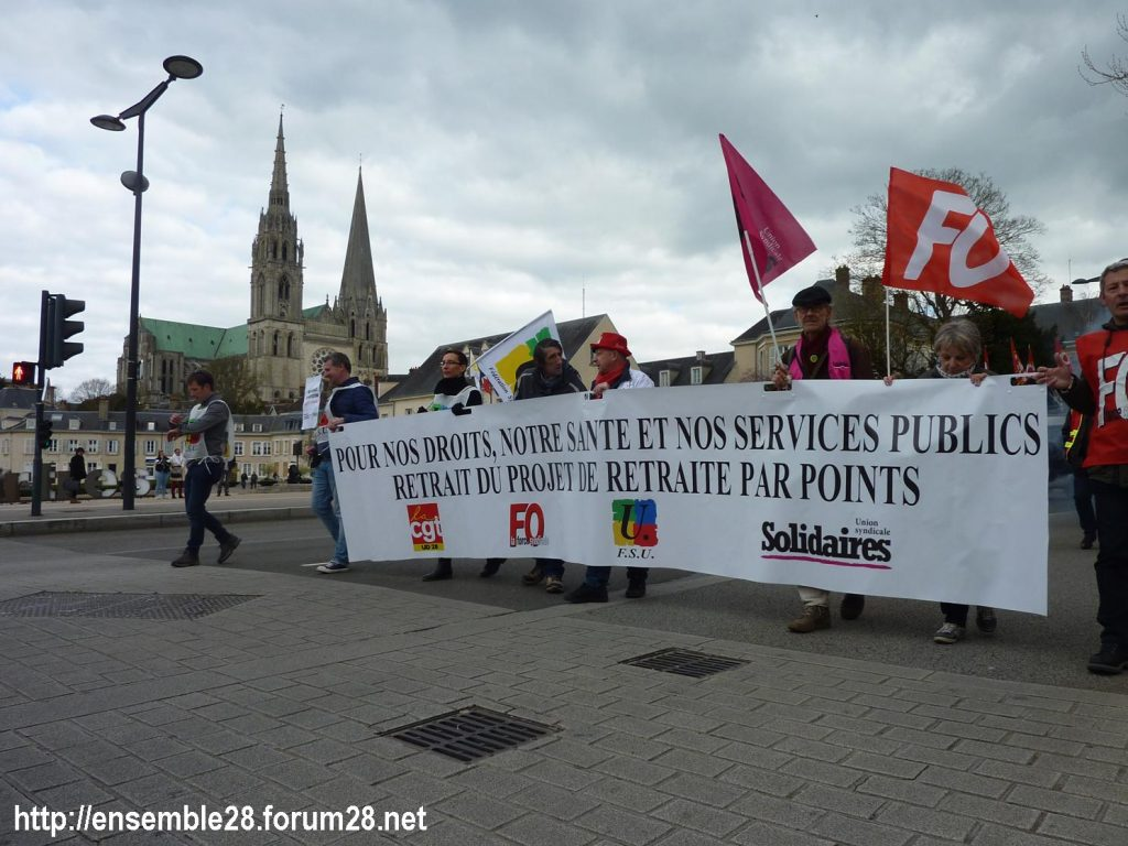 Chartres 19-03-2019 Manifestation Public-Privé CGT FO FSU Solidaires 23