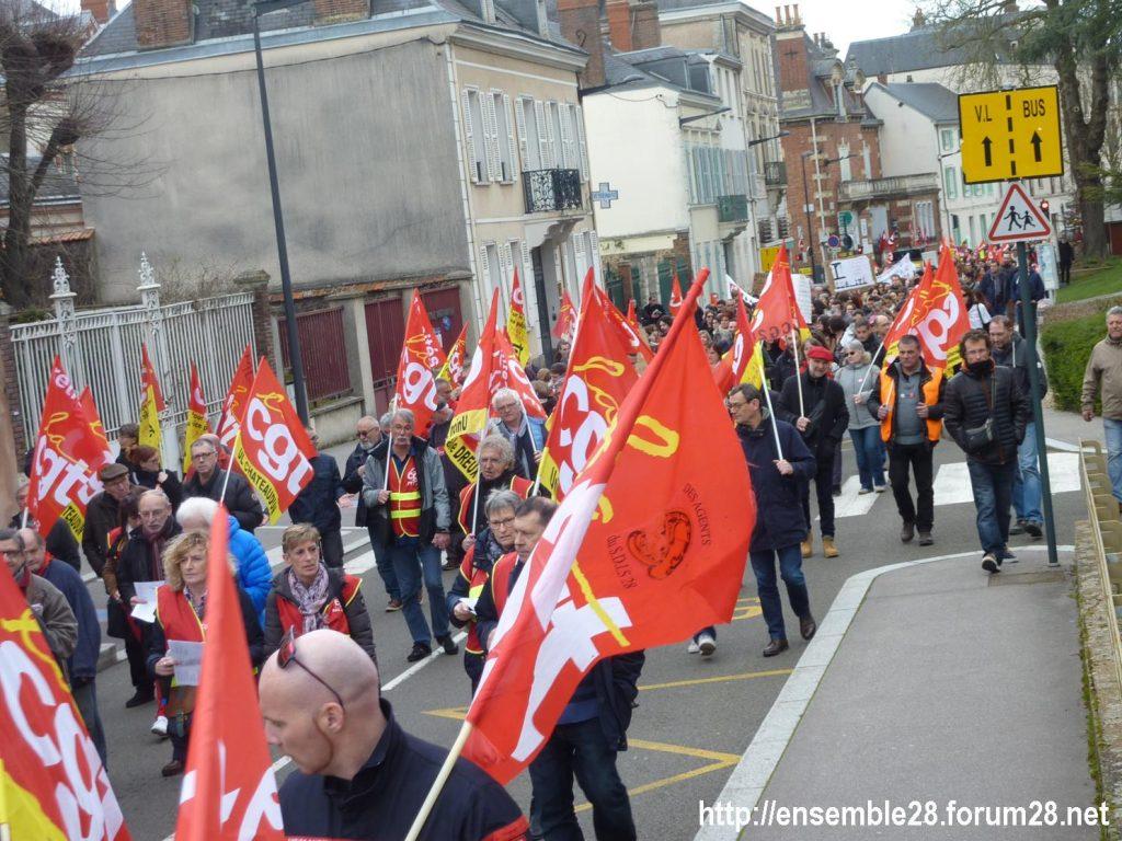 Chartres 19-03-2019 Manifestation Public-Privé CGT FO FSU Solidaires 25