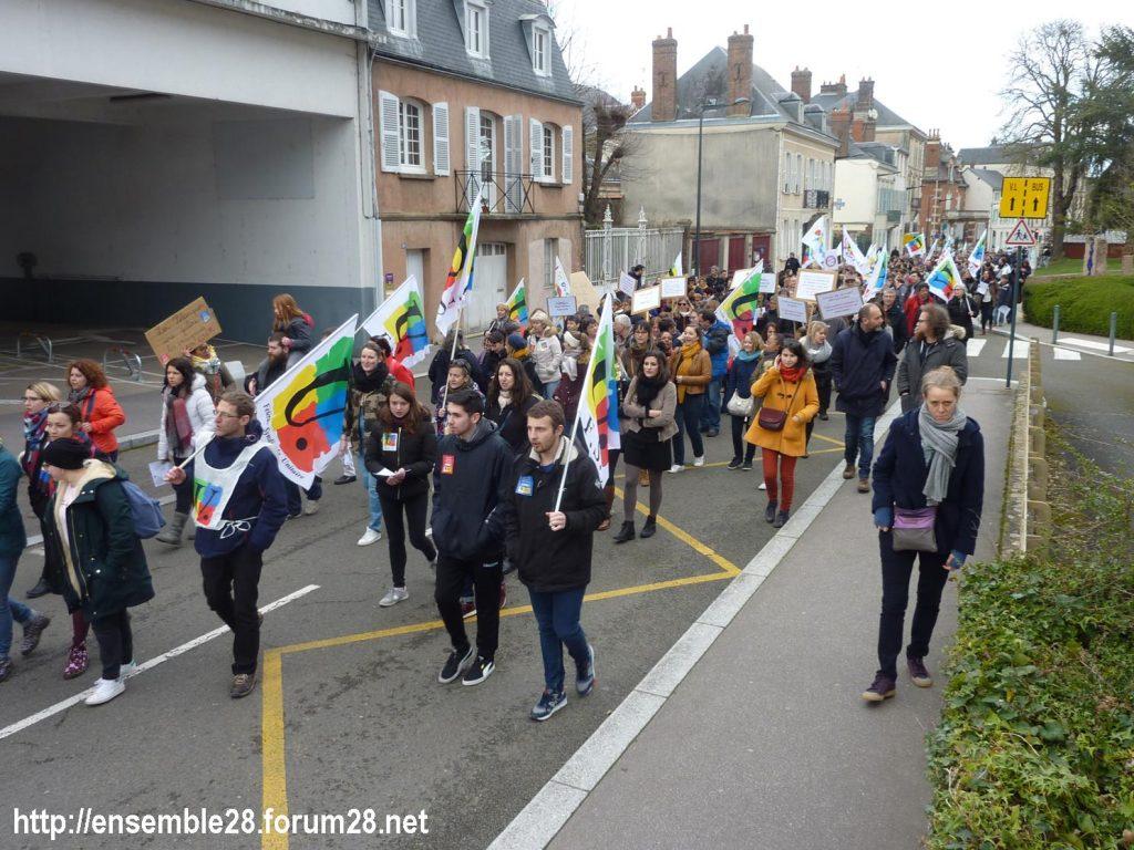 Chartres 19-03-2019 Manifestation Public-Privé CGT FO FSU Solidaires 27