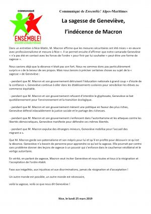 ComPress E! 06 Sagesse de Geneviève Indécence de Macron 25-03-2019