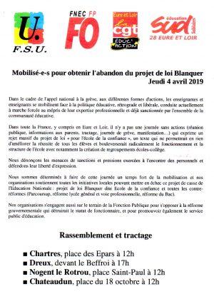 Mobilisation loi Blanquer 4 avril 2019