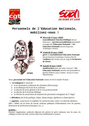 Tract SUD-Éducation28 et CGT-Éducaction28 pour 30-03-2019 Chartres