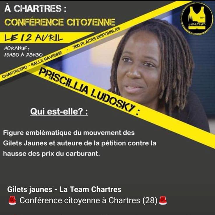 Gilets Jaunes Chartres Conférence-citoyenne 12-04-2019 P.Ludosky [Affiche]