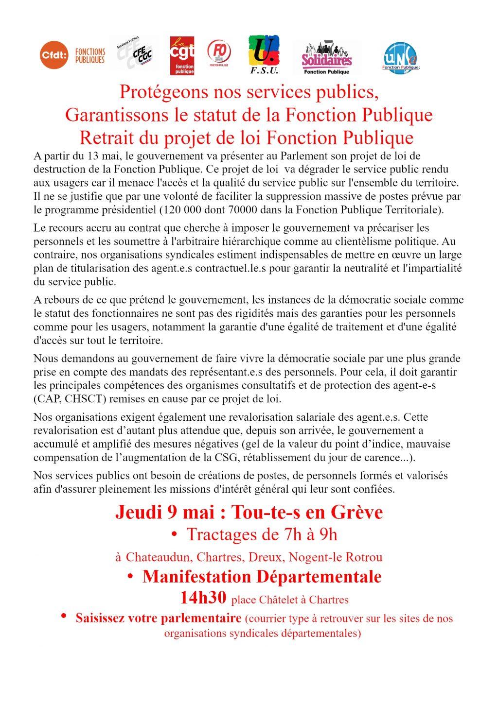 Intersyndicale Fonction-Publique 28 Appel 09-05-2019