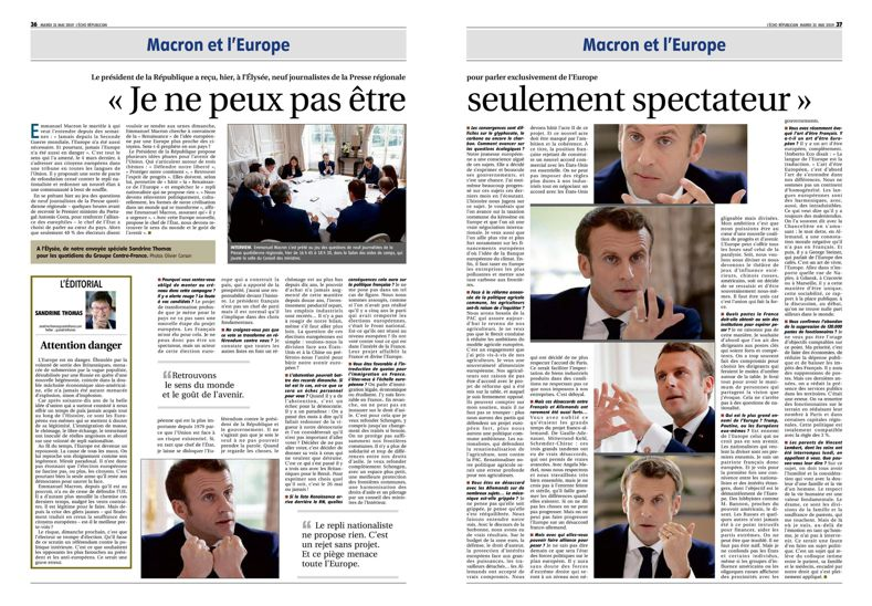 Écho 21-05-2019 p.36-37 Interview Macron