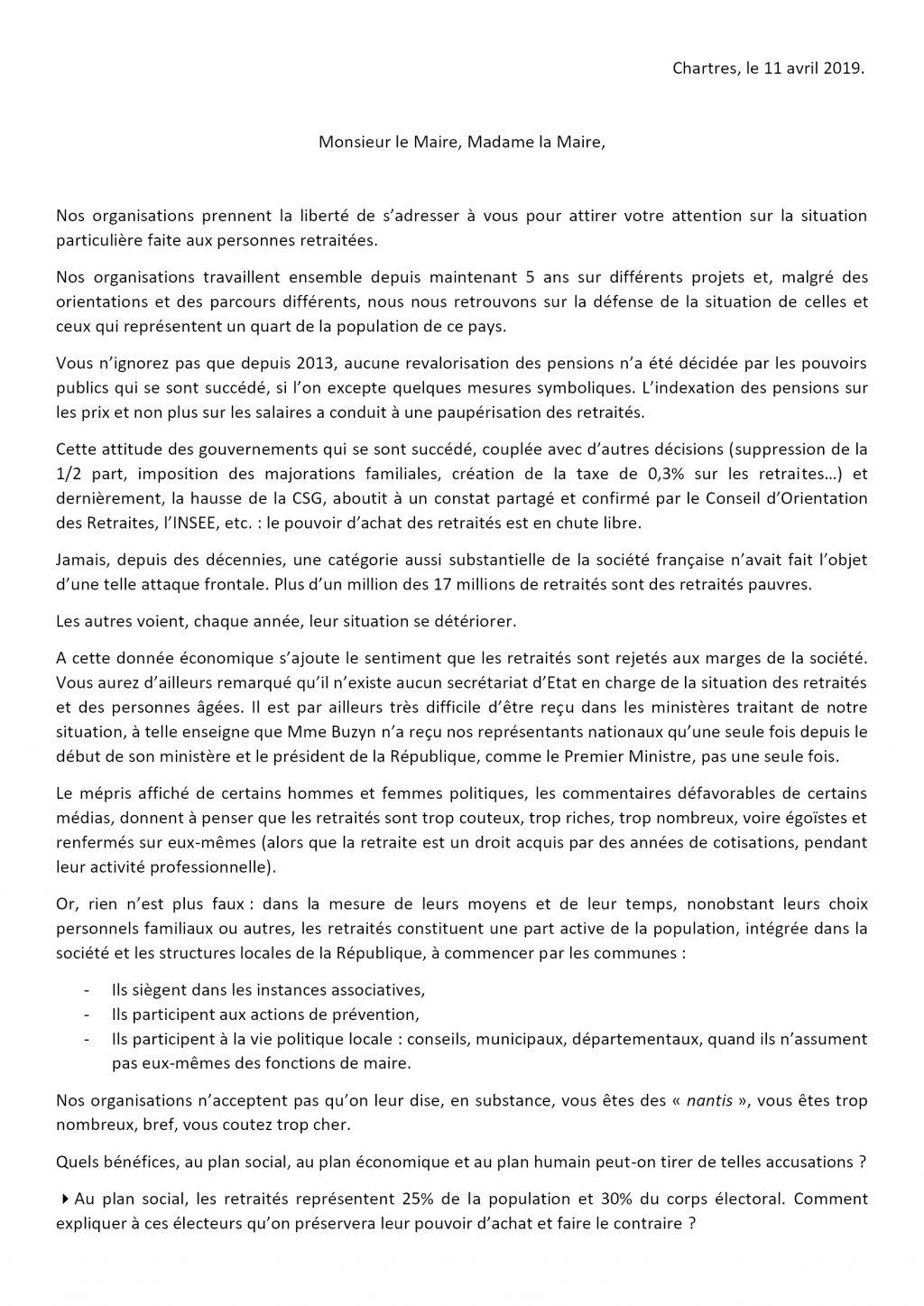 Retraités Intersyndicale28 2019 04 11 Lettre aux élus Eure-et-Loir R