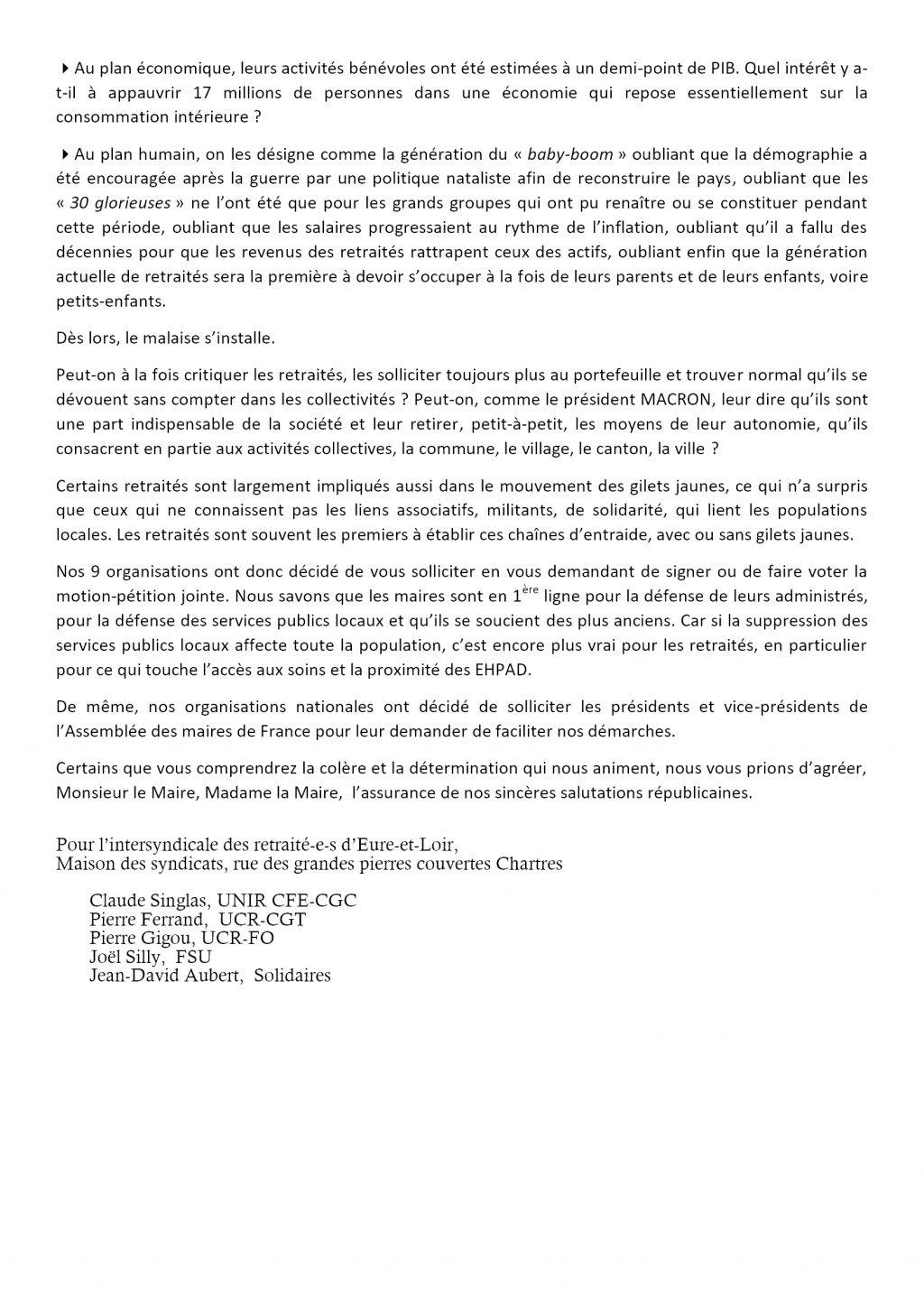 Retraités Intersyndicale28 2019 04 11 Lettre aux élus Eure-et-Loir V