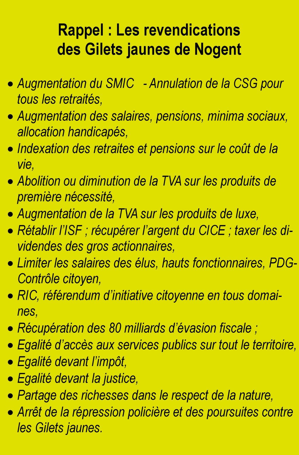 Revendications Gilets Jaunes Nogent-le-Rotrou