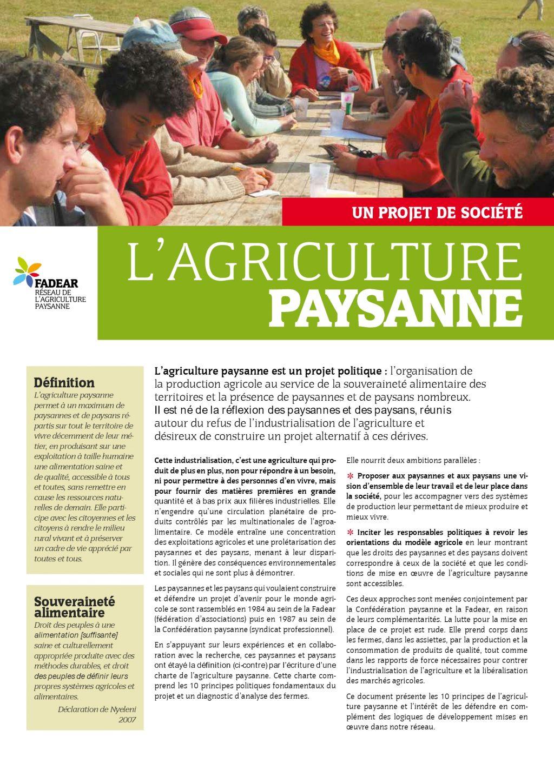 ADEAR 10 principes de l'Agriculture paysanne [Page Une]