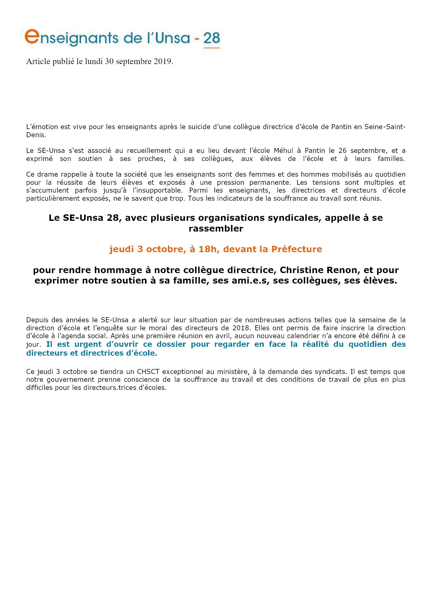 C.Renon Communiqué du SE-UNSA-28 30-09-2019