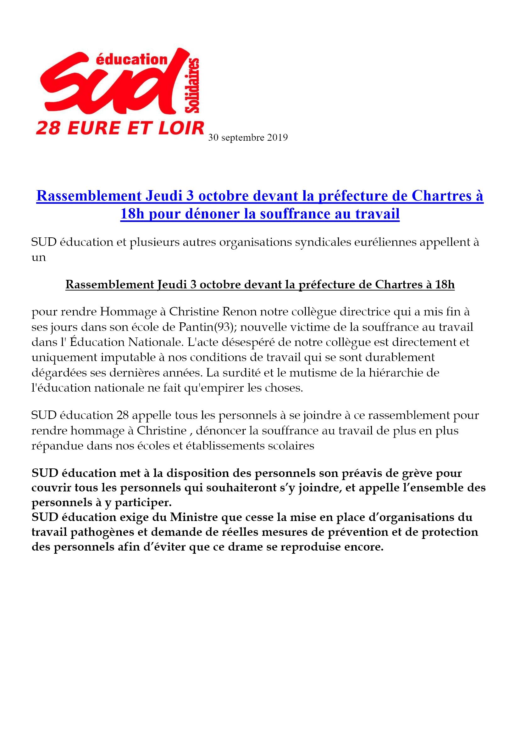 C.Renon Communiqué du SUD-Éducation-28 30-09-2019