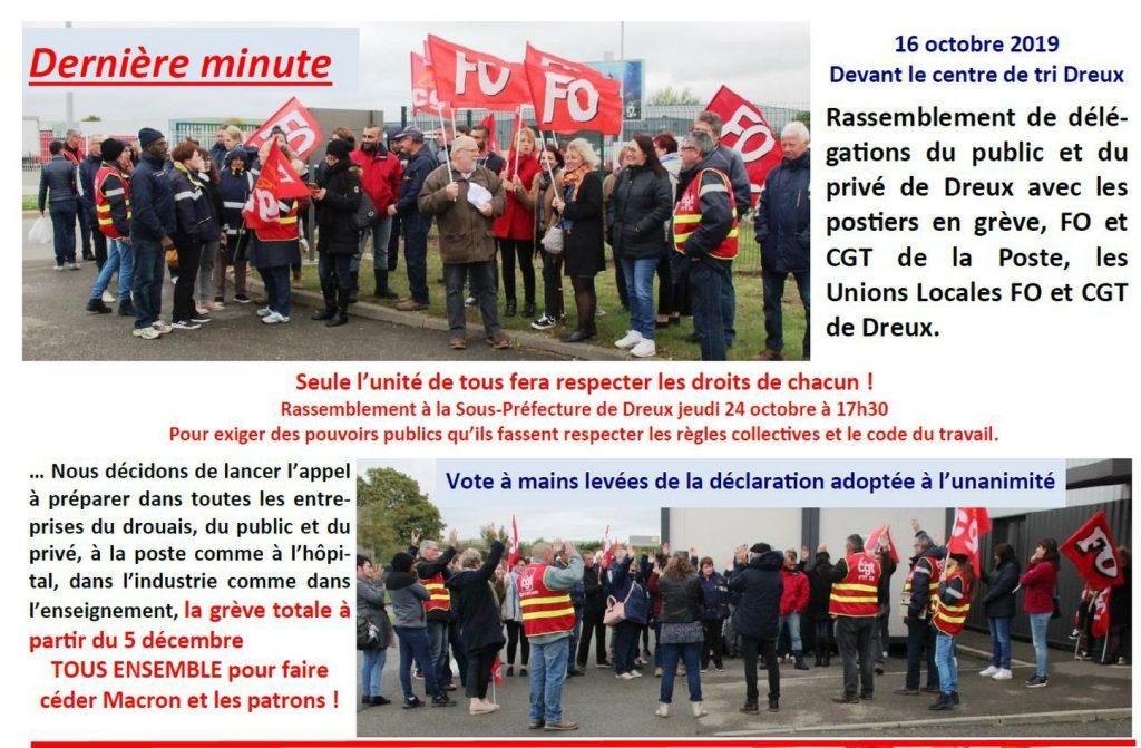 Dreux Postiers Grève Rassemblement 16-10-2019 Compte-rendu CGT FO