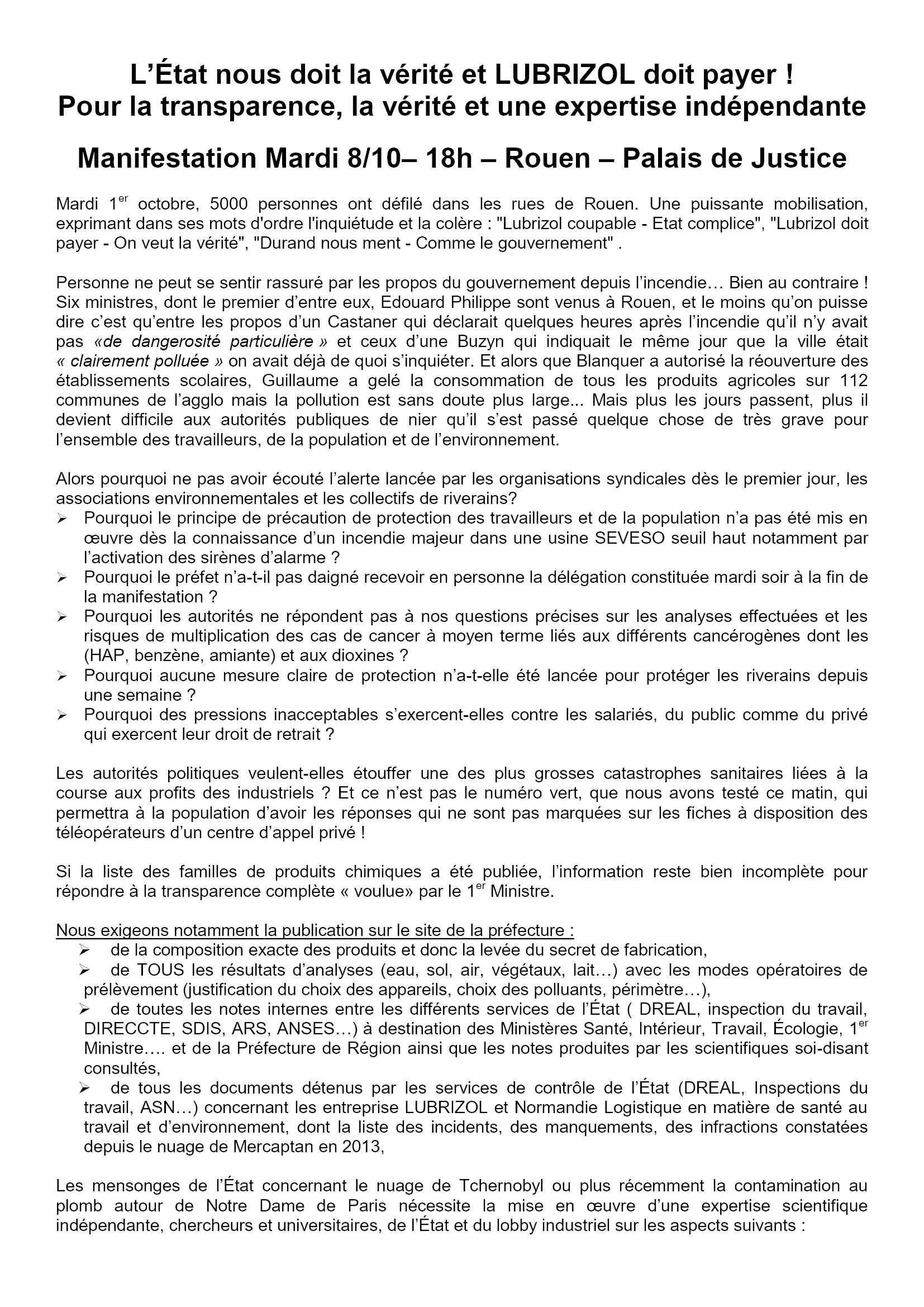 Nouvel appel à manifestation unitaire Lubrizol le 08-10-2019 [Recto]