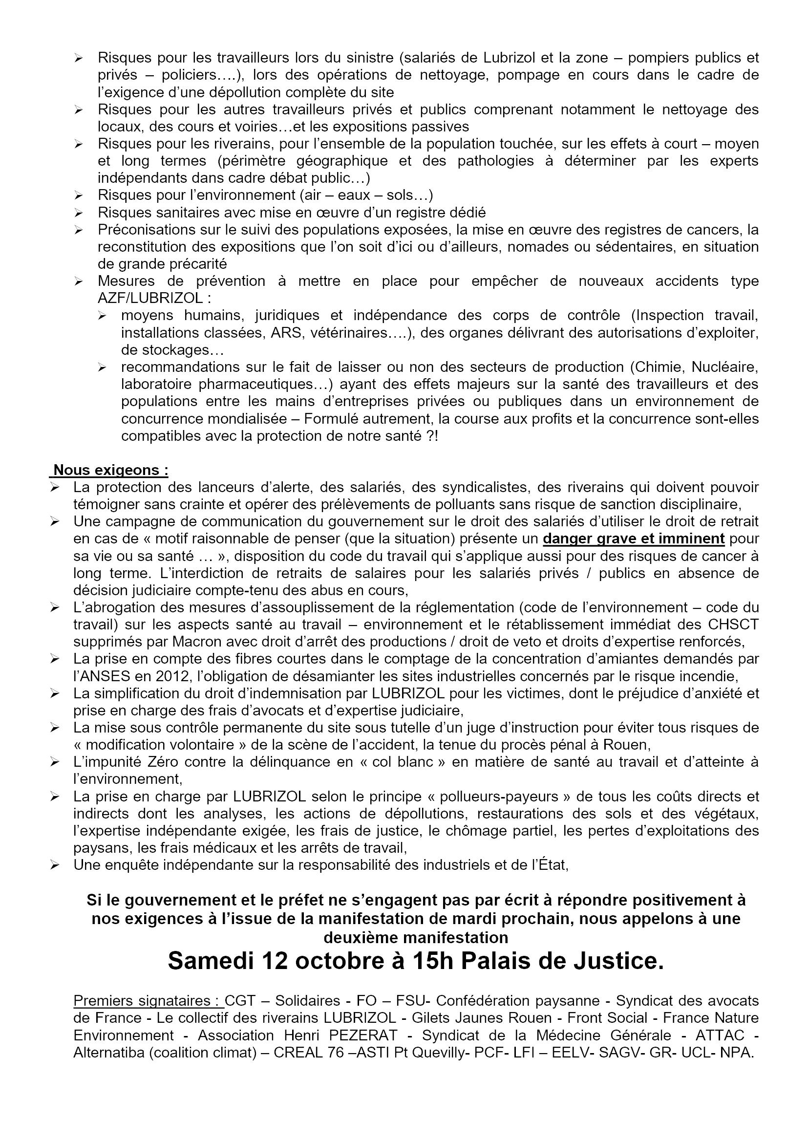 Nouvel appel à manifestation unitaire Lubrizol le 08-10-2019 [Verso]