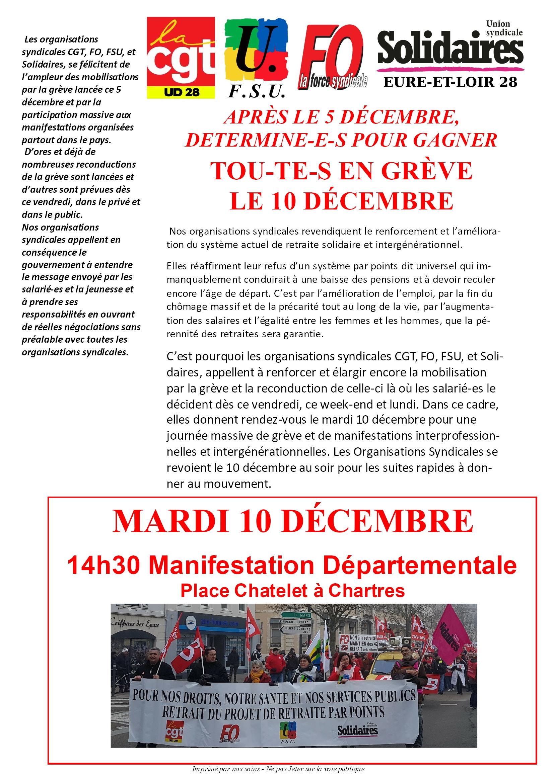 Appel Intersyndical 28 Grève Retraites 10 décembre 2019