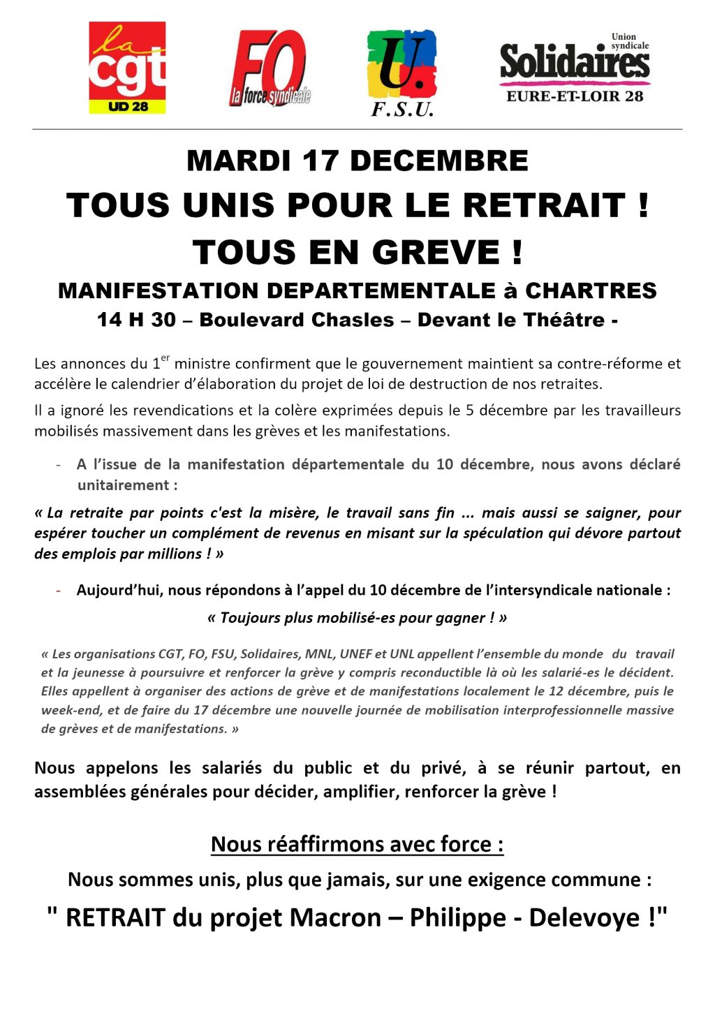 Appel Intersyndical 28 retraites 17-12-2019