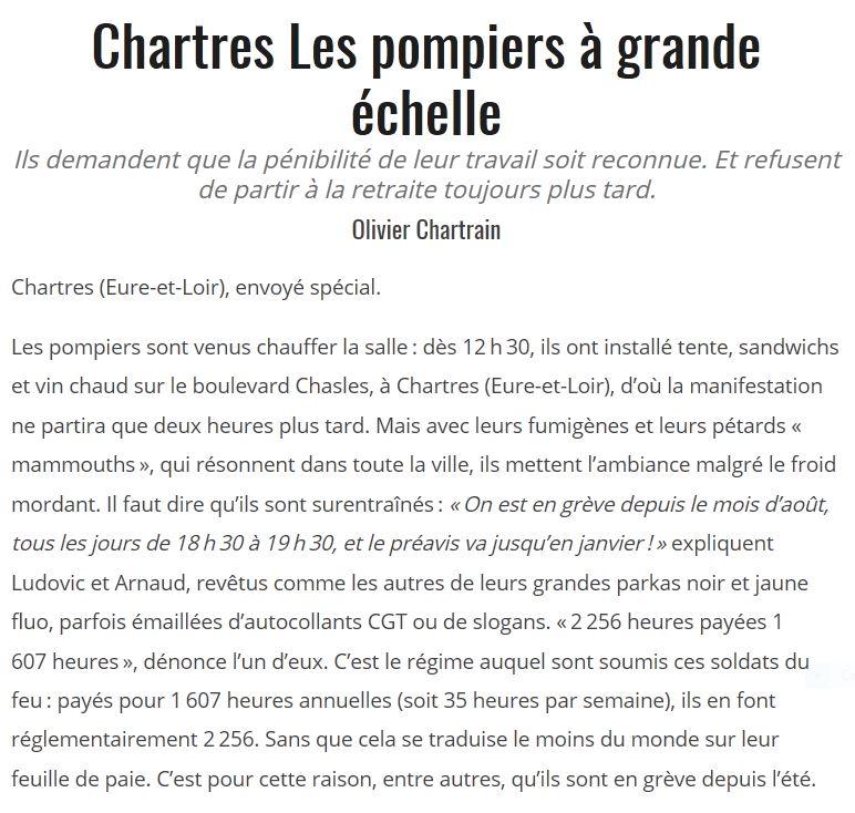l'Humanité 06-12-2019 Chartres Pompiers en grève O.Chartrain 1x2