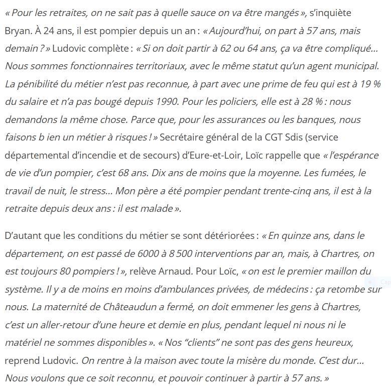 l'Humanité 06-12-2019 Chartres Pompiers en grève O.Chartrain 2x2