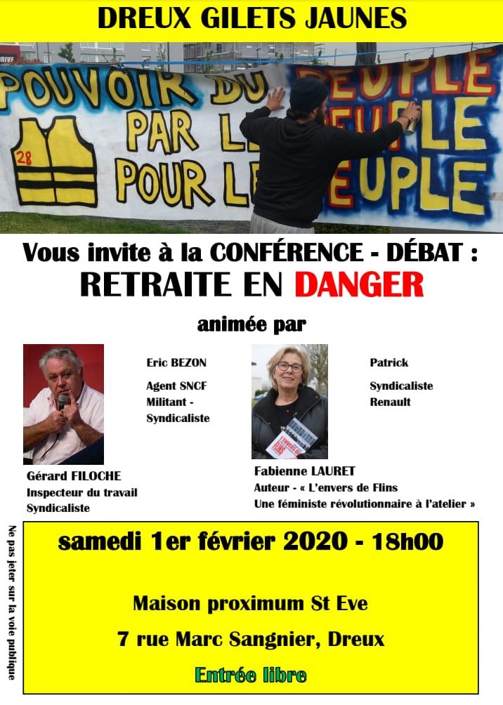 020 02 01 Conférence-Débat Gilets Jaunes Dreux avec Gérard Filoche à 18h