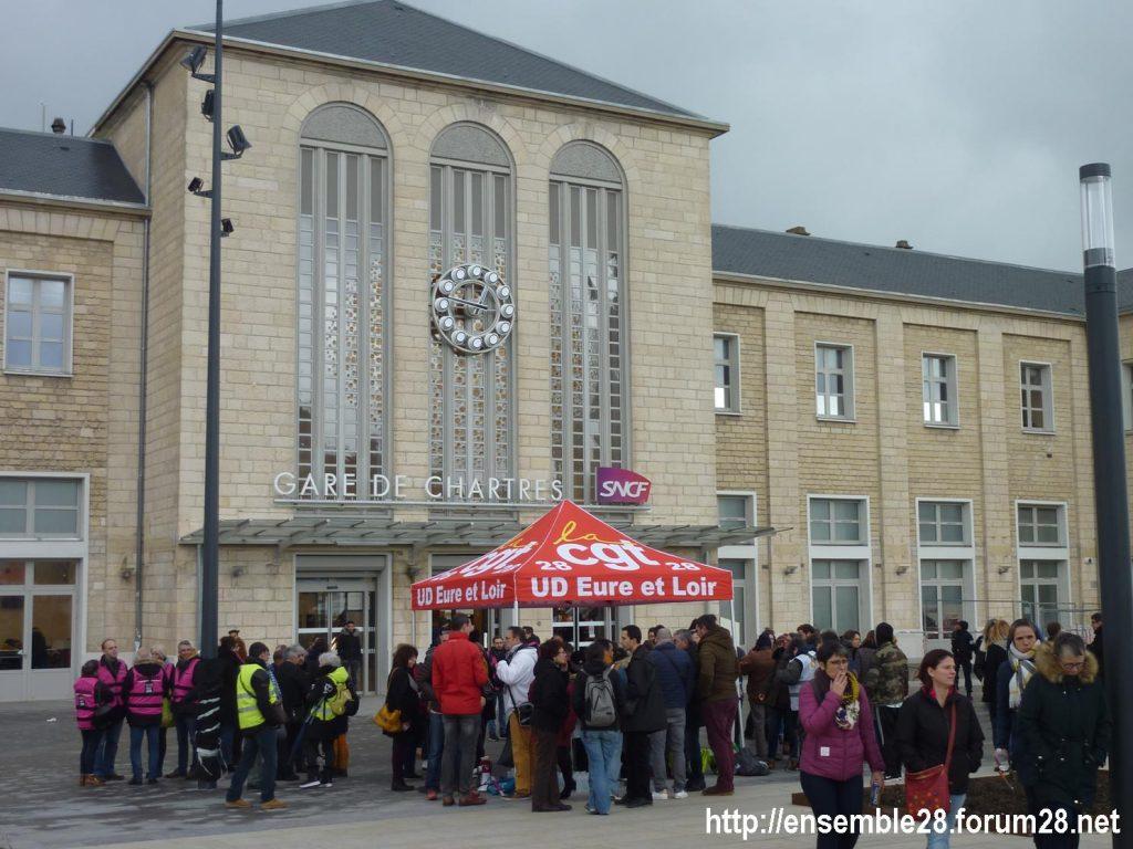Chartres 09-01-2020 Retraites Pique-nique de soutien aux cheminots grévistes 1