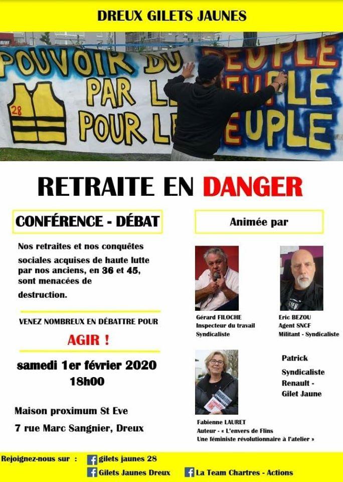 Réunion Retraites Dreux Gilets Jaunes Filoche Bezou Lauret Patrick 01-02-2020
