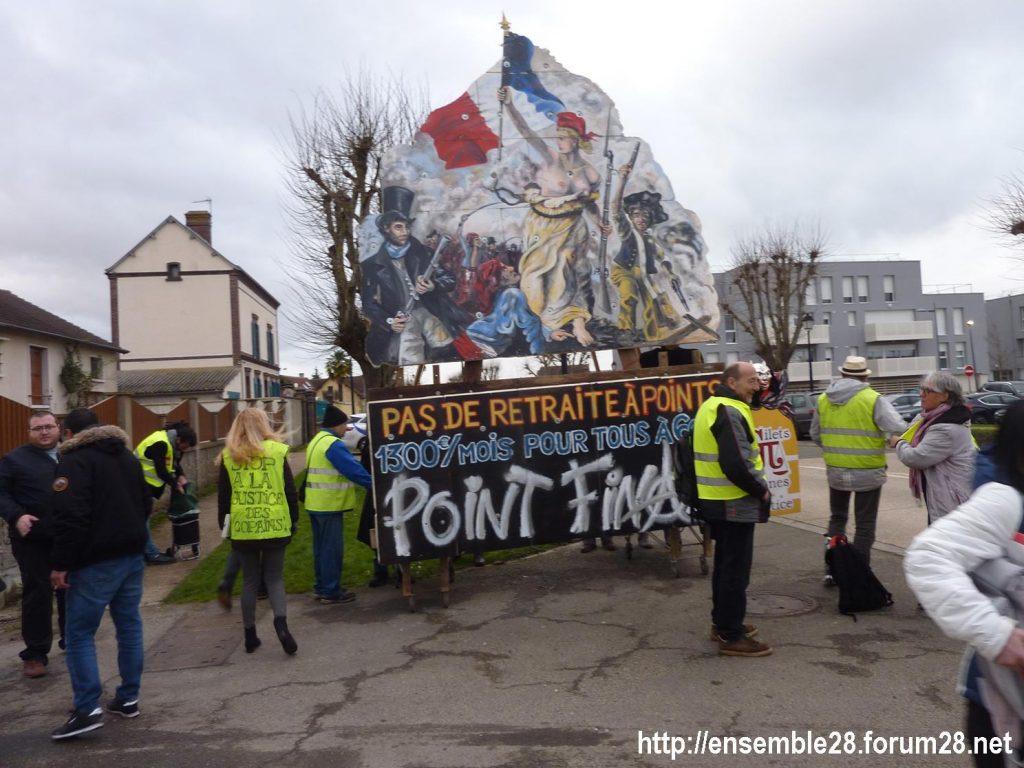 Dreux 01-02-2020 Manifestation Gilets Jaunes et Débat Retraites 01