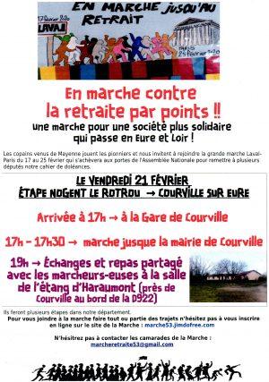 21 février : Marche pour le Retrait / Arrivée à Courville / 17 h. 30 Manifestation jusqu'à la Mairie @ COURVILLE-SUR-EURE