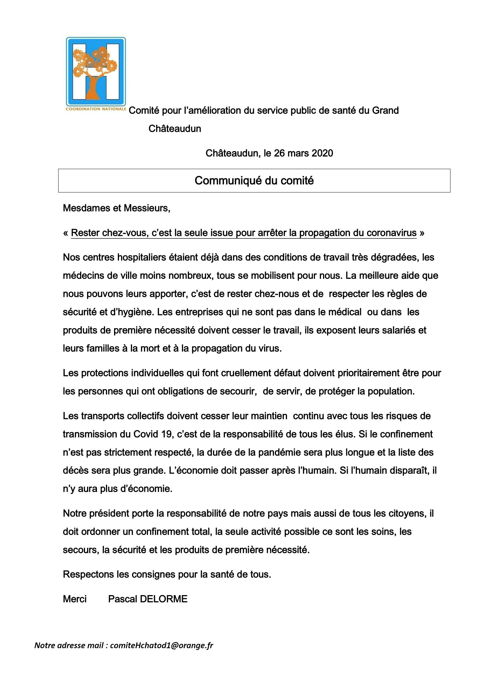 Com Presse Comité Santé Châteaudun COVID-19 26-03-2020